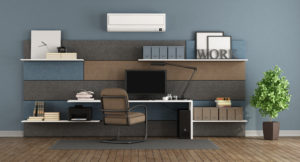 Blue and brown modern office with fabric paneling with shelves and desk - 3d rendering Note: the room does not exist in reality, Property model is not necessary ductless ac